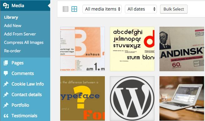 Screenshot of Image gallery in WordPress CMS