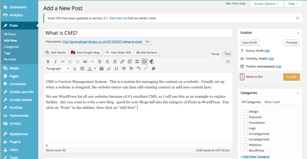 Screenshot of WordPress Content Management System for CMS blog