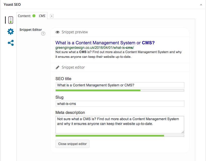Screenshot of Yoast SEO within WordPress CMS