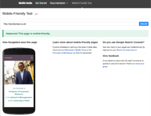 Screenshot of Google Mobile Friendly test for responsive website