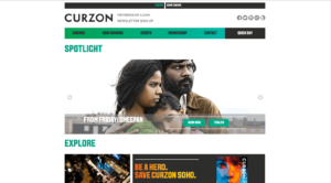 Curzon Cinema desktop version of Curzon Cinema responsive website