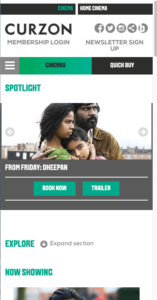Curzon Cinema mobile view - example of responsive website