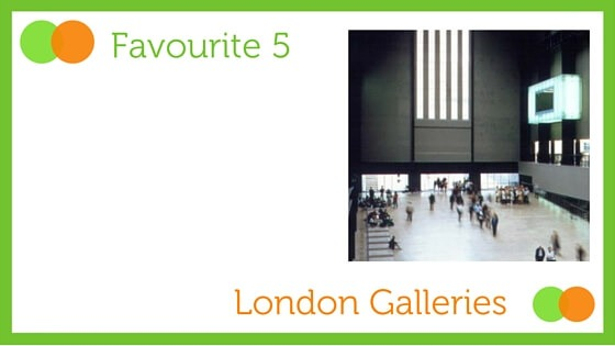 Grpahic for Favourite Five London Galleries blog