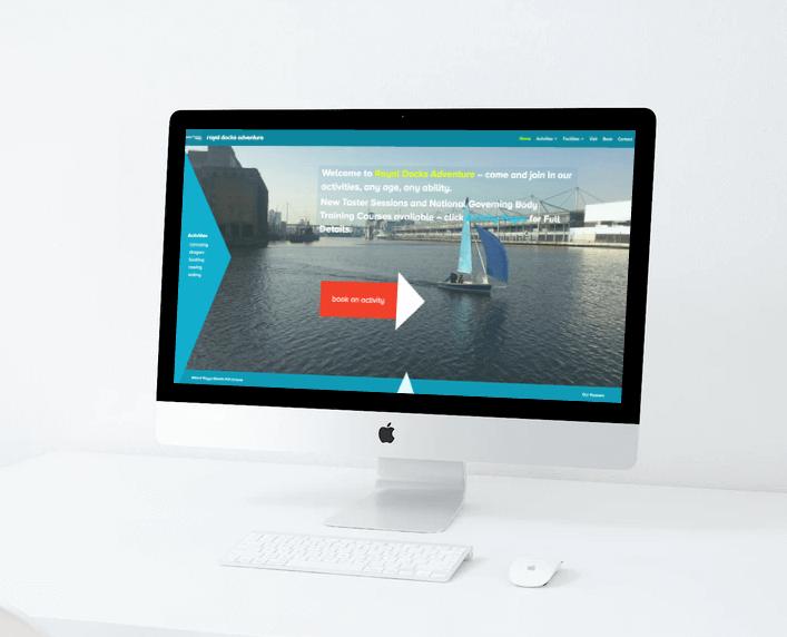 Royal Docks Adventure website on desktop computer