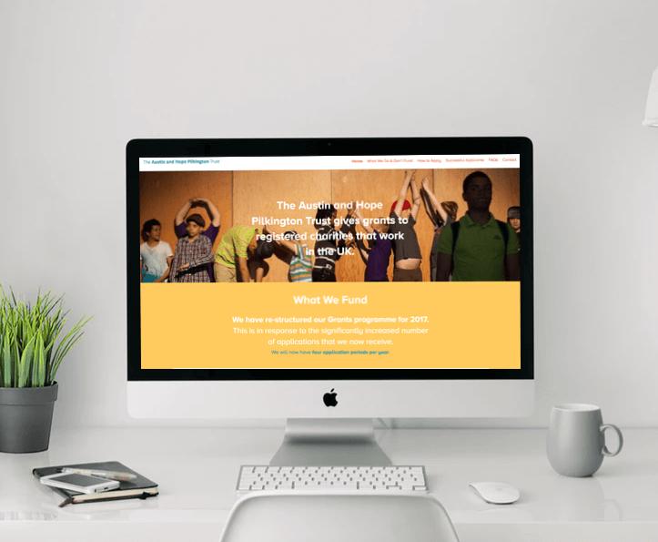 Austin and Hope Pilkington Trust website on desktop