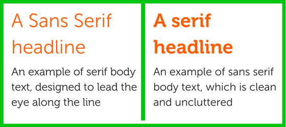 Serif and Sans Serif typefaces for blog on choosing typefaces