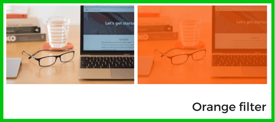 Photo with and without orange filter for website re-design blog